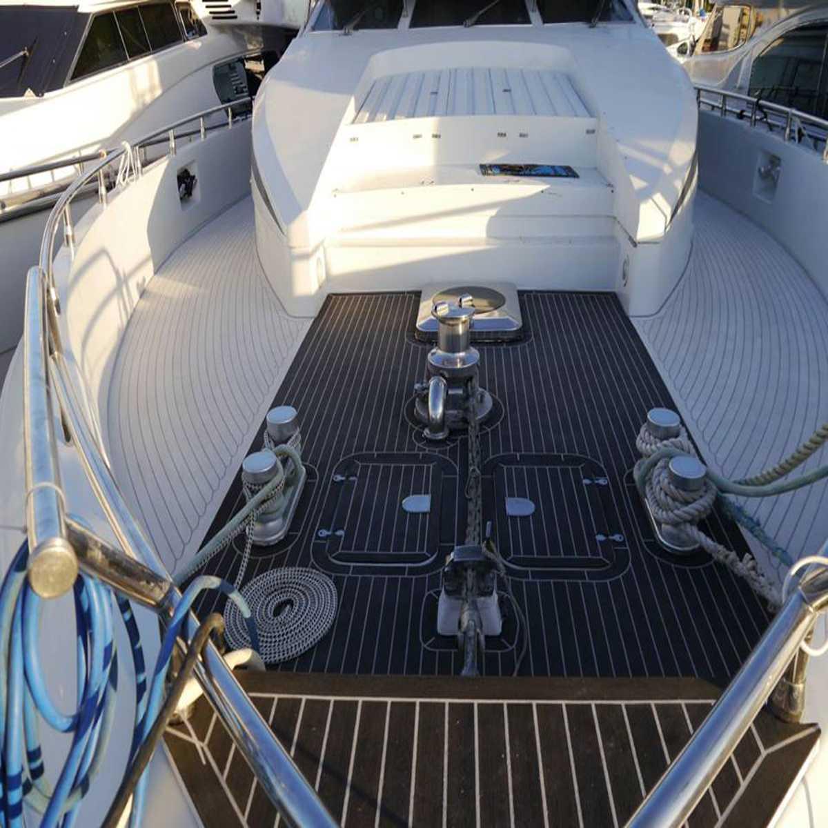 Autoleader 230x90x0.5 cm auto-adhésif bateau Yacht EVA mousse teck Mat noir avec lignes blanches bateau plancher teck platelage feuille Pad