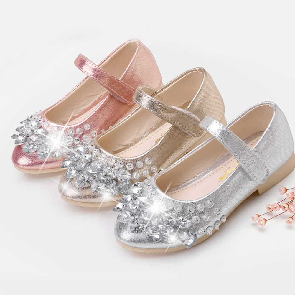 Girls Ballet Flats Baby Dance Party Girls Shoes Rhinestone Children Shoes Gold Bling Princess Shoes 3-12 years Kids Shoes
