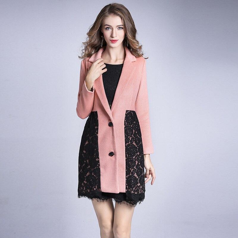 Casaco de caxemira das mulheres Novas double sided lace single breasted longo casaco de lã rosa elegante acolhedor quente fino sobretudo