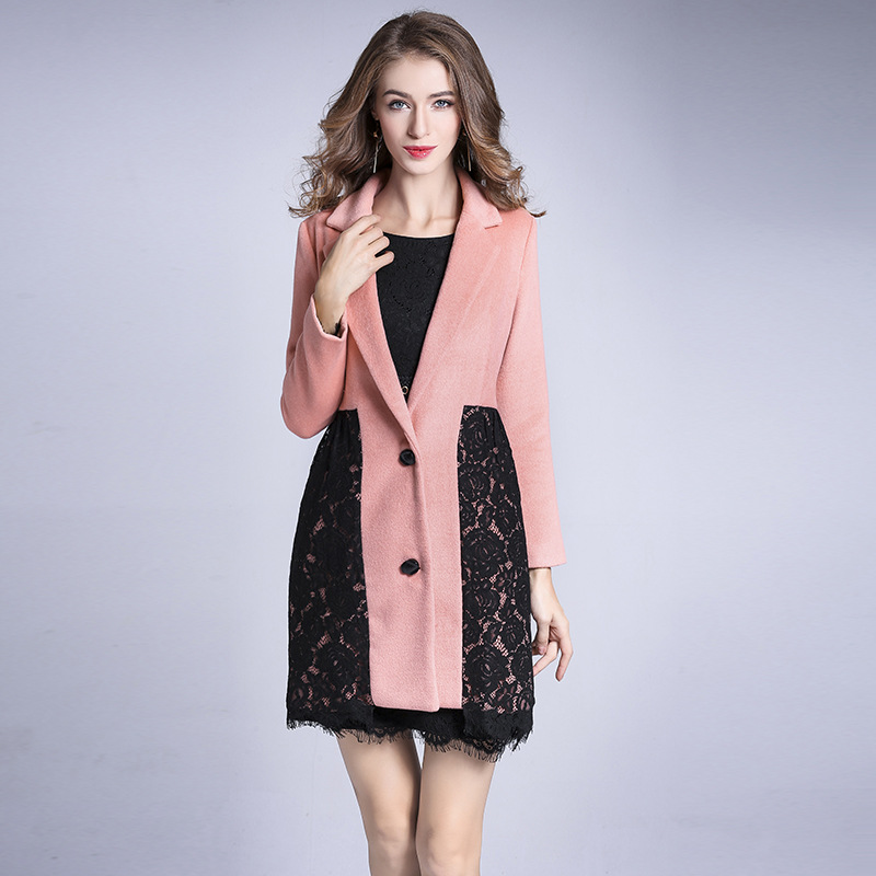 Women's New double sided cashmere coat lace long single breasted woolen coat pink elegant cosy warm slim overcoat