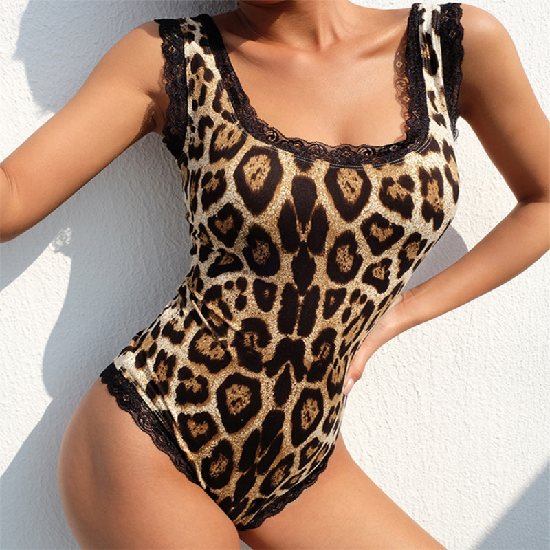 Lace Leopard Bodysuit for Women Sexy Bodycon Skinny Body Suit Strap Sleeveless Playsuit Printed Romper   Jumpsuits