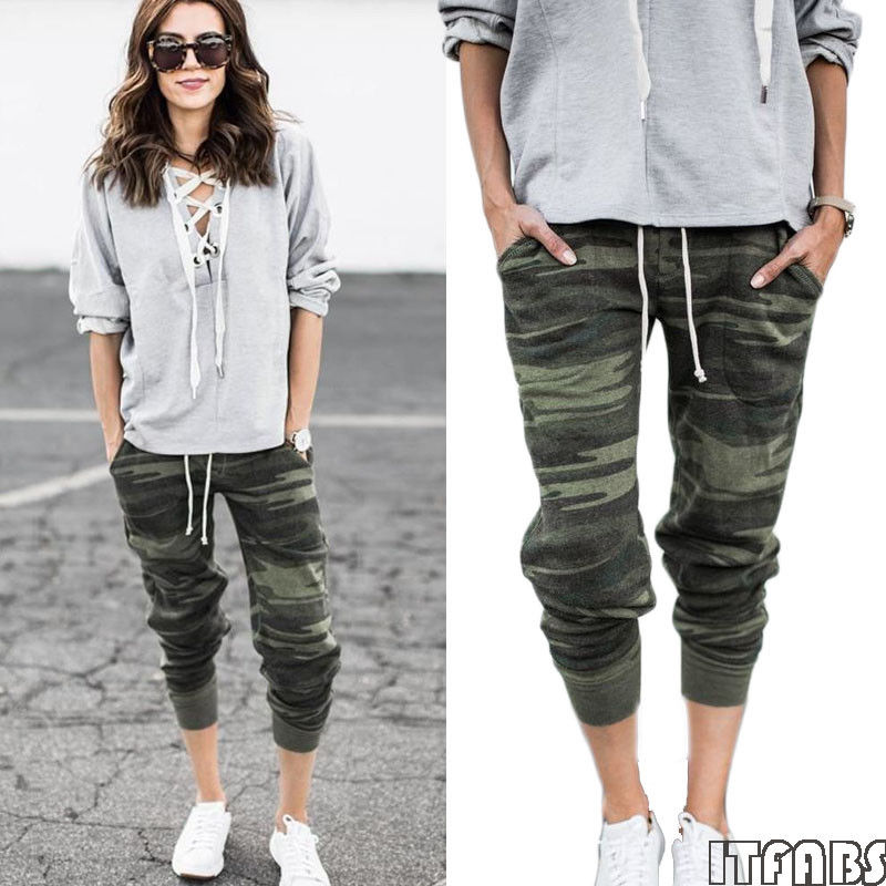 Drawstring Waist Camouflage Pants Women Casual Autumn Mid Waist Bottoms Tapered Carrot Female Multicolor Crop Trousers