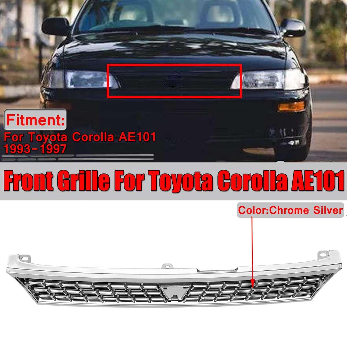 1x grilles de course Chrome argent voiture avant Center supérieur pare-chocs Grille Grille pour Toyota Corolla AE101 1993-1997 sans emblème