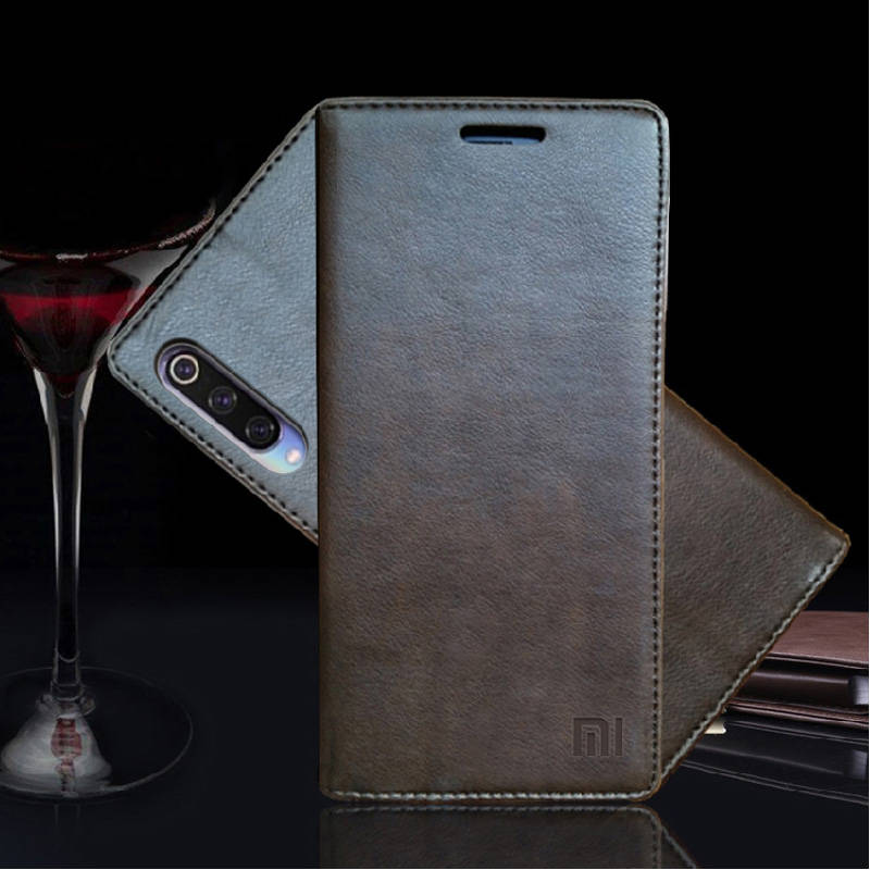 for Xiaomi Mi 9 Case Luxury Genuine Leather Flip Case for Xiaomi Mi 9 Magnetic Book Wallet Cover for Xaiomi mi9 Phone Coque Case in Flip Cases from Cellphones Telecommunications