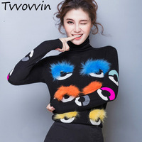 TVVOVVIN 2019 Sell Autumn And Winter New Pattern Color Self cultivation Rendering Upper Fox Eyelashes Eye High Lead Sweater L051