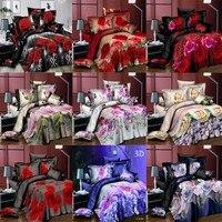 3D Bedding Set Quilt Cover Pillow Case Flower Rose Lily Floral 3PCS\/SET Hot Sale