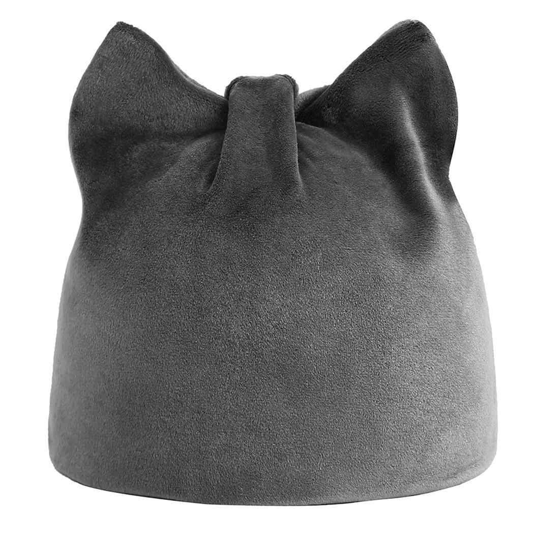 30776f1b046 ... Solid Wine Women Warm Cat Hand Winter only Hats Soft red gray Black Ears-Shaped  ...