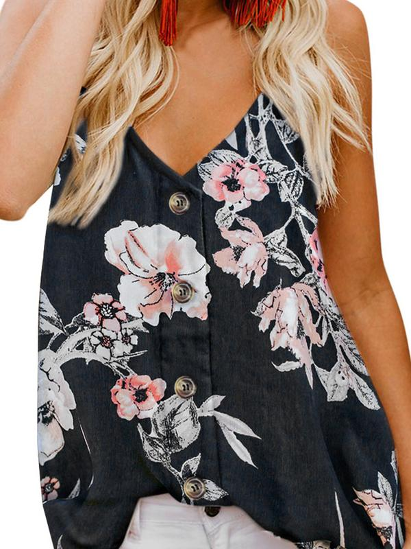 Floral Print Button Down Tank Top Women Spaghetti Straped Tops Casual Fashion Sleeveless Shirt