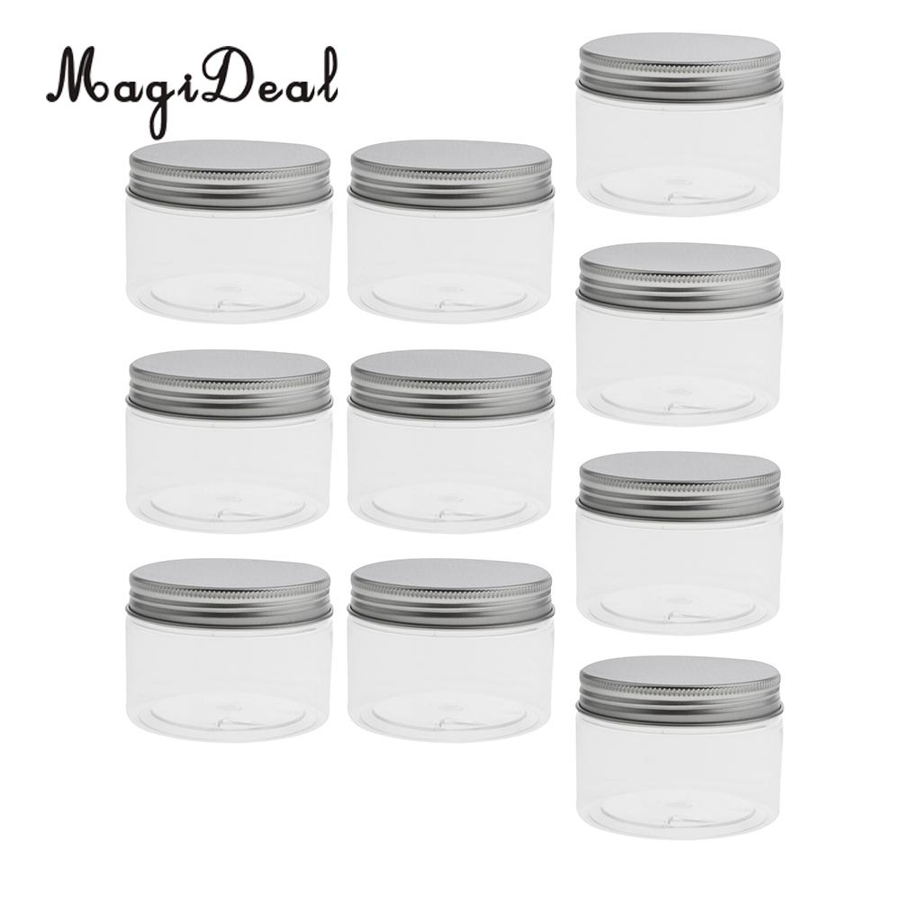 10pcs 30-120ML PET Plastic Empty Cosmetic Container Case with Aluminum Caps Cream Lotion Box Ointments Bottle Makeup Pot Jars 12pcs 20g amber glass cream jars cosmetic packaging with lid black plastic caps