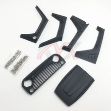 Nylon Angry Front Grille Engine Cover Wheel Eyebrow Set For 1/10  RC Crawler Car Jeep Wrangler Axial Scx10 90046 90047 90048
