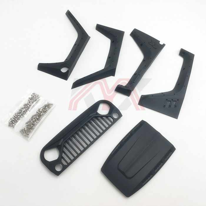 Nylon Angry Grille Motorkap Wiel Wenkbrauw Set Voor 1/10 RC Crawler Auto Jeep Wrangler Axiale Scx10 90046 90047 90048