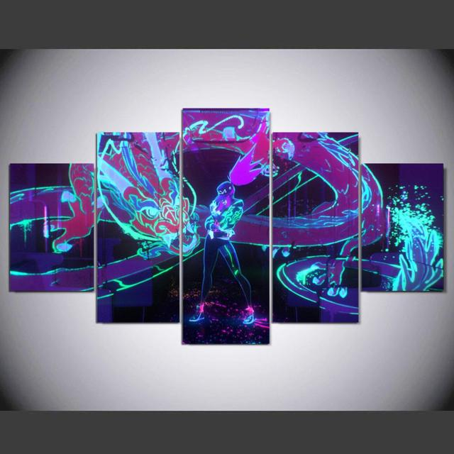 HD canvas printed painting 5 piece League of Legends KDA Akali Splash Art Home decor Poster Picture For Living Room YK-1226