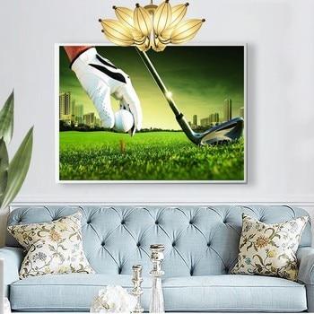 Huacan 5D Diamond Painting Full Display Landscape Golf Diamond Embroidery Full Square Cross Stitch Rhinestones