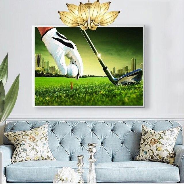 Huacan 5D Diamond Painting Full Display Landscape Golf Diamond Embroidery Full Square Cross Stitch Rhinestones Decor