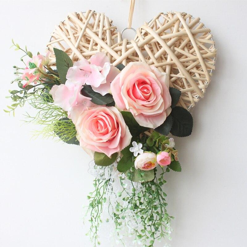 Flower Wreaths For Weddings: Artificial Wreath Heart Shaped Flower Wreaths Rattan Ring