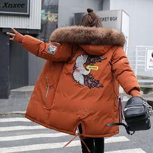 Xnxee Long Winter Women Parka 2018 Casual Plus Size Floral Hooded Jacket Coat Fur Collar Thick Warm Parka BF Outwear 3XL стоимость