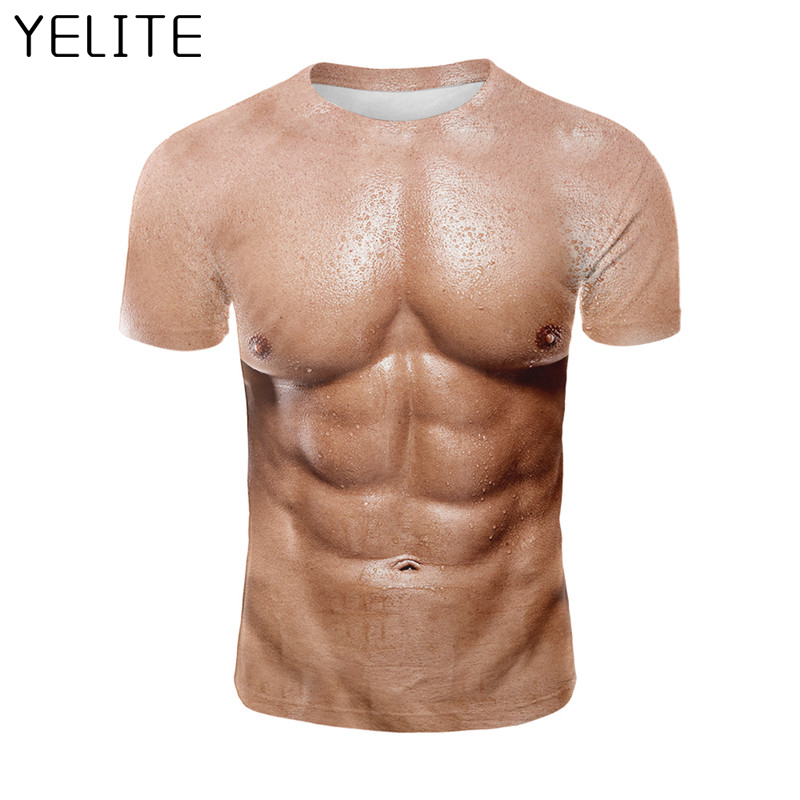 YELITE Muscle Short Sleeve   t     shirt   Mens Cool Tops Fake pectorales 3D Printing streetwear Man Tee   Shirts   Tshirt Abdominal Male