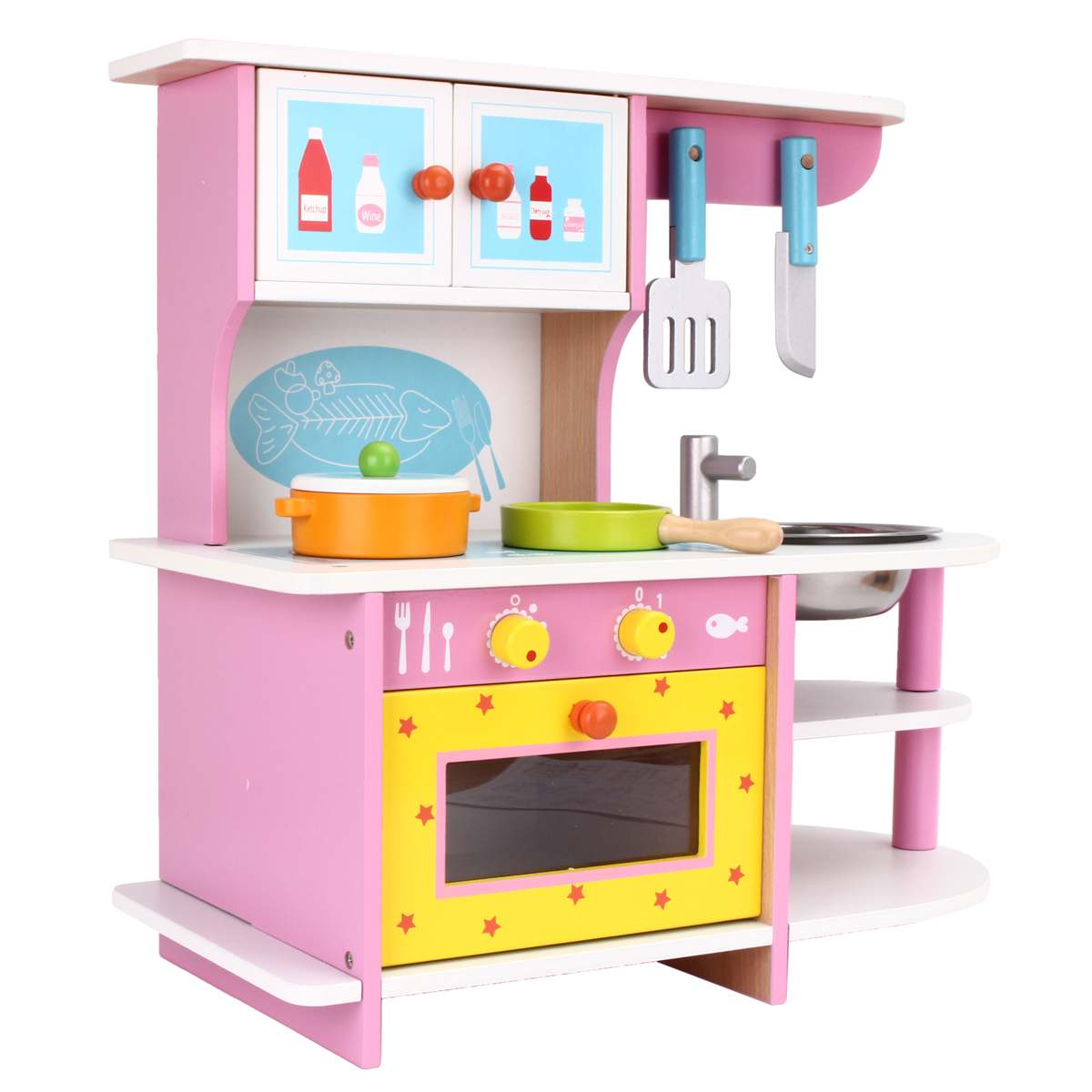 Wooden Kids Kitchen How To Create A Pantry In Small Toy Woo Toys For Educational Girls Pretend Play Children Role Set Cooking Tools Kit