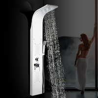 Tower Shower Column Brushed Nickel Shower Panel Tower Rain Waterfall Massage Body System Jet Tub Tap With Hand Shower Tub Spout