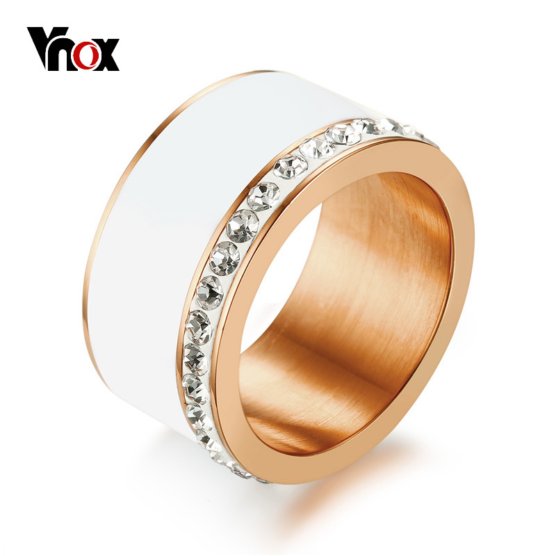 Vnox Chunky-Ring Stones Wedding-Band Female Jewelry 585 Stainless-Steel Rose-Gold-Color