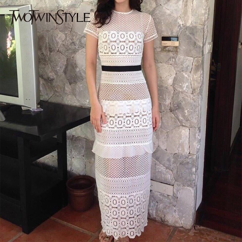 TWOTWINSTYLE Elegant Hollow Out White Dress Women O Neck Short Sleeve High Waist Patchwork Maxi Dresses
