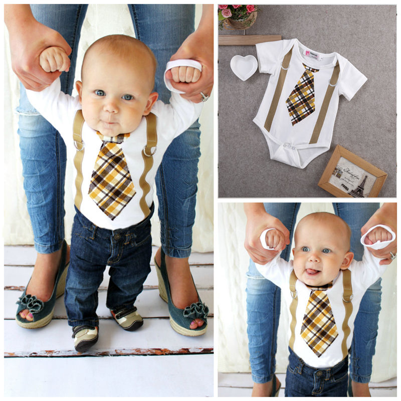 Pudcoco Boy Jumpsuits 0-18M Kids Baby Boy Clothes Plaid Tie   Romper   Outfits US Stock