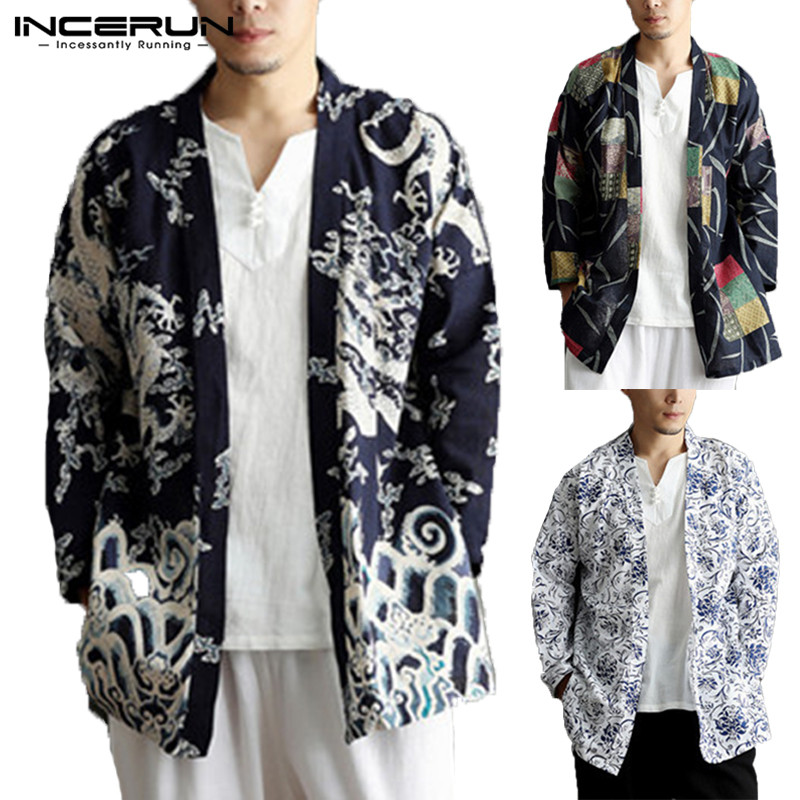 INCERUN 2020 Men Trench Coat Outerwear Cotton Ethnic Print Chinese Style Cardigan Pockets Long Sleeve Men Jackets Kimono Men 5XL