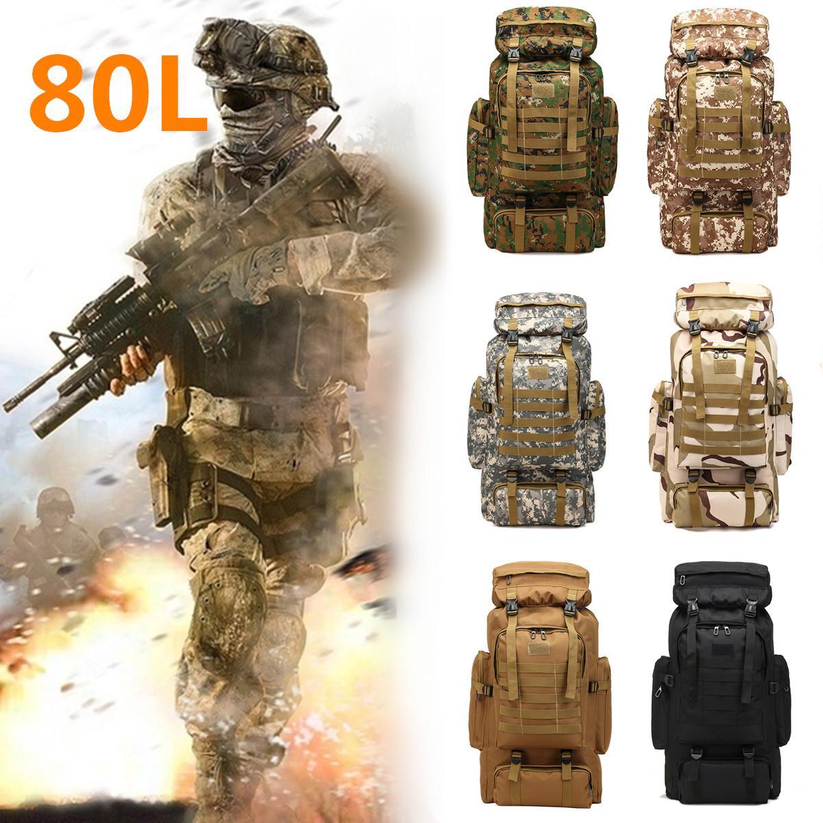 80L Large Capacity Backpack Camouflage Tactical Military Rucksacks Backpack Camping Bag Casual Travel Shoulder Bag Rucksack