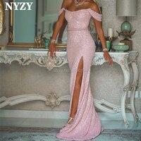 NYZY E67 Elegant Mermaid Dress Evening Sexy High Leg Cut Slit Pink Sequin Gown Formal Dress Robe Soiree vestidos de festa 2019
