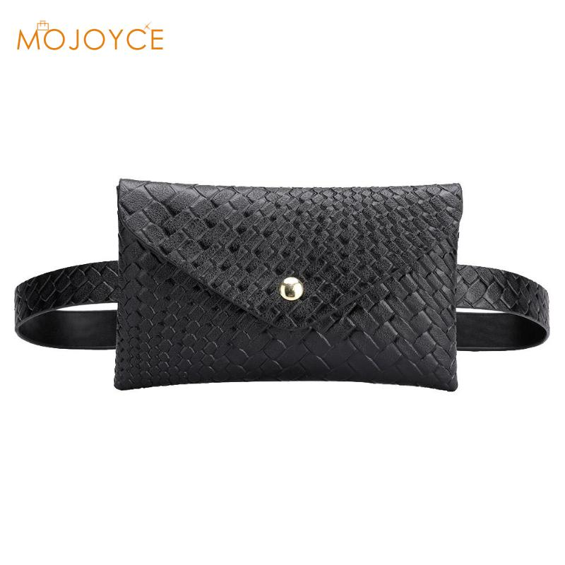 Solid Color Woven Shoulder Waist Bags Fanny Belt Packs Phone Pouch Women PU Leather Crossbody Casual Messenger Chest Bags 2019