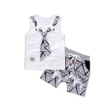 Fashion Brand Children Boy Girl Clothing Set 2pcs Tie TShirt And Cartoon Short Pants Baby Clothes 2017 Summer Kids Clothing Sets pioneer camp brand kids short new arrival fashion england style kids clothes brand boy short pants high quality children short