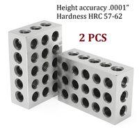 "2Pcs Precision Blocks Hardened Steel 1 2 3 Blocks 0.0001"" Precision Matched Machinist 123 Milling Tool 23 Holes|Gauges| |  -"