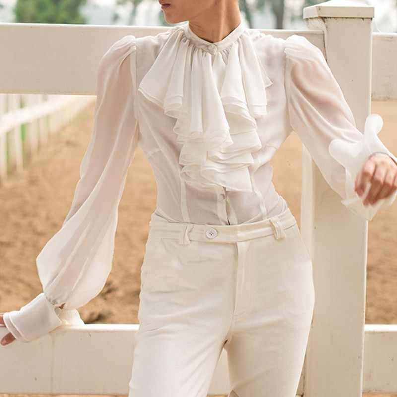 TWOTWINSTYLE シフォンシャツブラウス女性スタンド襟ランタン長袖トップス女性のエレガントなファッション服 2019 春