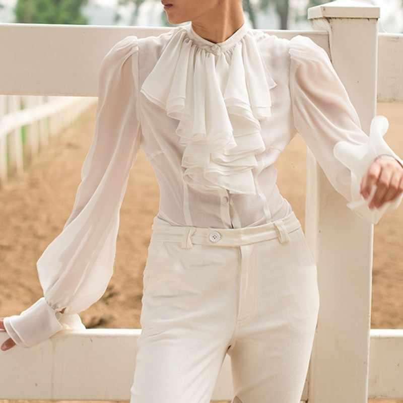 TWOTWINSTYLE camisas de gasa blusa de mujer cuello de soporte linterna de manga larga Tops mujer elegante moda ropa 2019 primavera