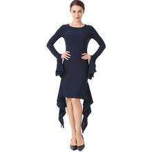 85e333b99 Nueva y elegante vestidos De cóctel corto manga larga vestido volantes Sexy  azul marino De la Mujer Árabe ropa 2019 vestido De .