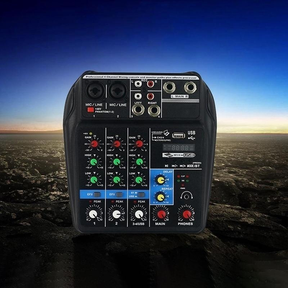 TU04 BT Sound Mixing Console Record 48V Phantom Power Monitor AUX Paths Plus Effects 4 Channels
