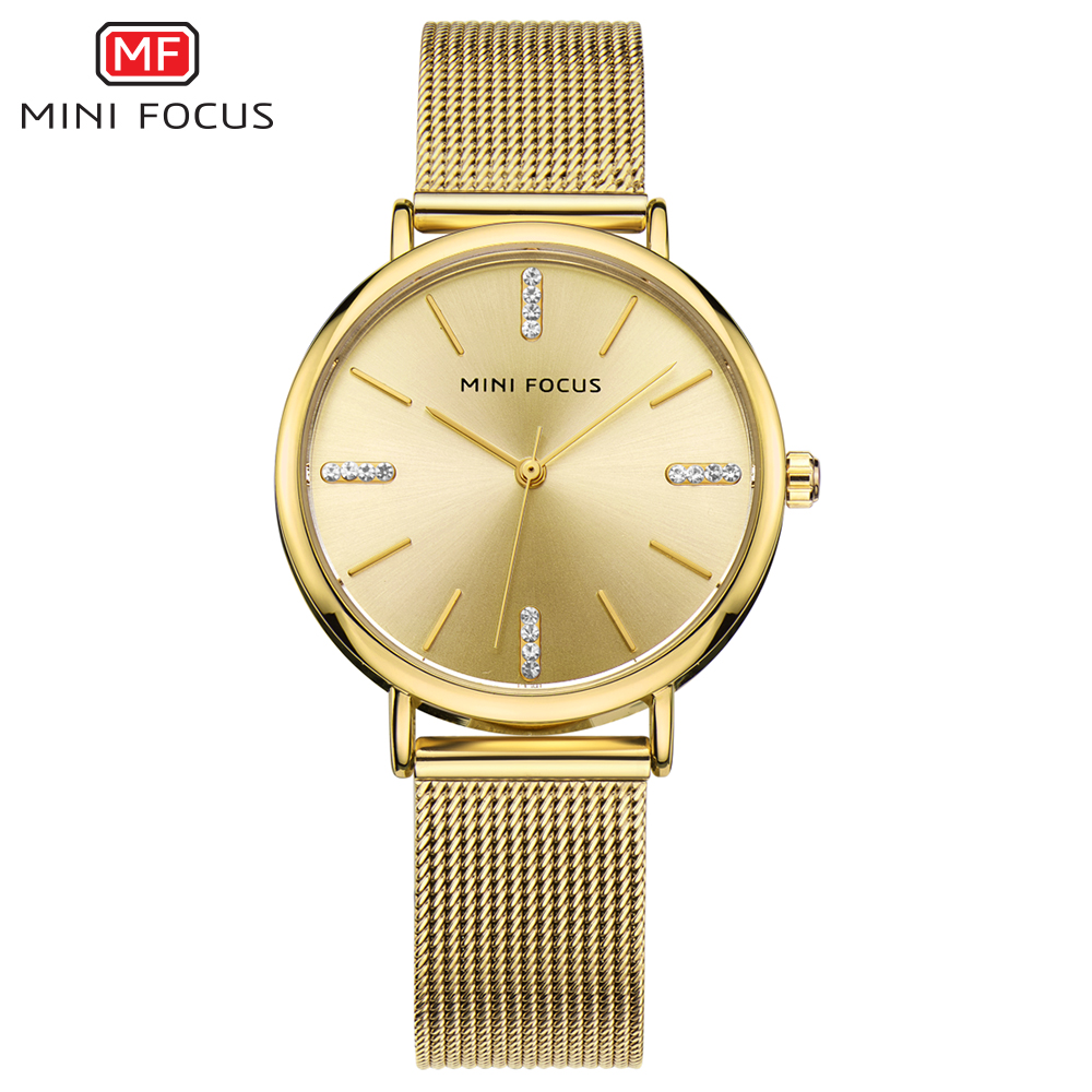 MINI FOCUS Royal Dress Golden Women Watches Quartz Clock Ultra Thin Mesh Strap Crystal Decoration Top Brand Luxury Ladies Watch