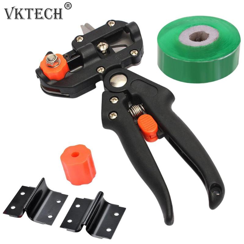 Garden Tools Grafting Pruner Chopper Vaccination Cutting Tree Plant Shears Scissor And 2/2.5/3cm Graft Film Tape Dropshipping(China)