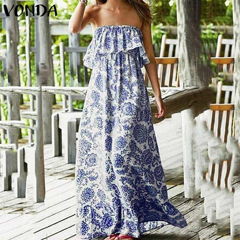 Сексуальное женское Макси длинное платье 2019 VONDA летние вечерние платья с принтом повседневное гофрированное платье с вырезом лодочкой без ...