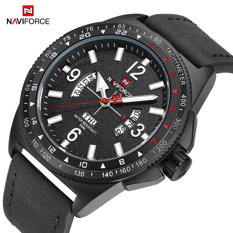 c1536d80e38 NAVIFORCE Homens Esportes Relógios de Luxo Da Marca dos homens À Prova D   Água relógios de Pulso de Quartzo Homem De Couro Militar Relógio Masculino  Relogio ...