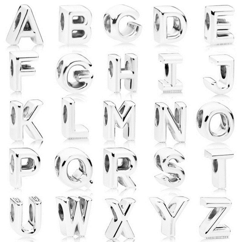 LZESHINE Alphabet Letter A Z Silver Charms Beads Fit