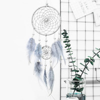 Original silver gray dream catcher 2 ring indian feather hanging art gifts to bestie friends creative valentine's day gifts