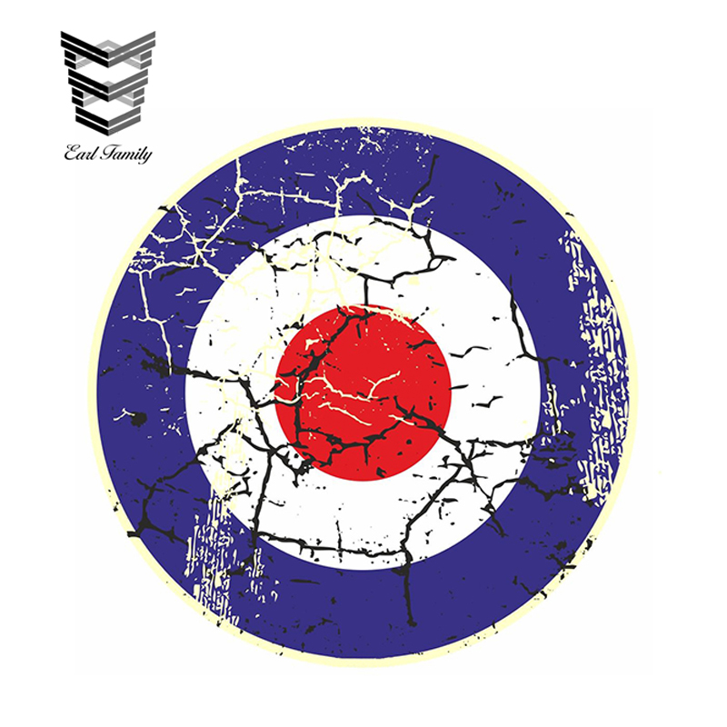 EARLFAMILY 11cm X 11cm Car Sticker Distressed Aged RAF MOD Roundal Target Design For Rat Look Vinyl Decal Car Styling