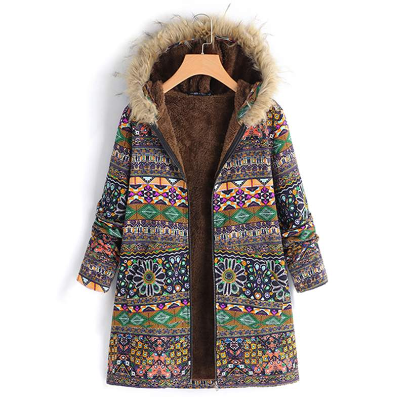 2018 Winter Women Hooded Long Sleeve Faux Fluffy Jackets Vintage Ethnic Printe Fleece Coats Warm Outwear Overcoats Plus Size