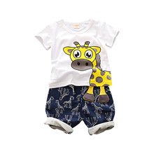 Summer Baby Boy Girl Clothes Infant Giraffe Pattern T Shirt Shorts 2pcs/set Kid Fashion Cotton Costume Children Casual Tracksuit