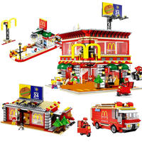 hot LegoINGlys city creators Street view McDonald with led light Building Blocks MOC model mini Seller figures bricks toys gift