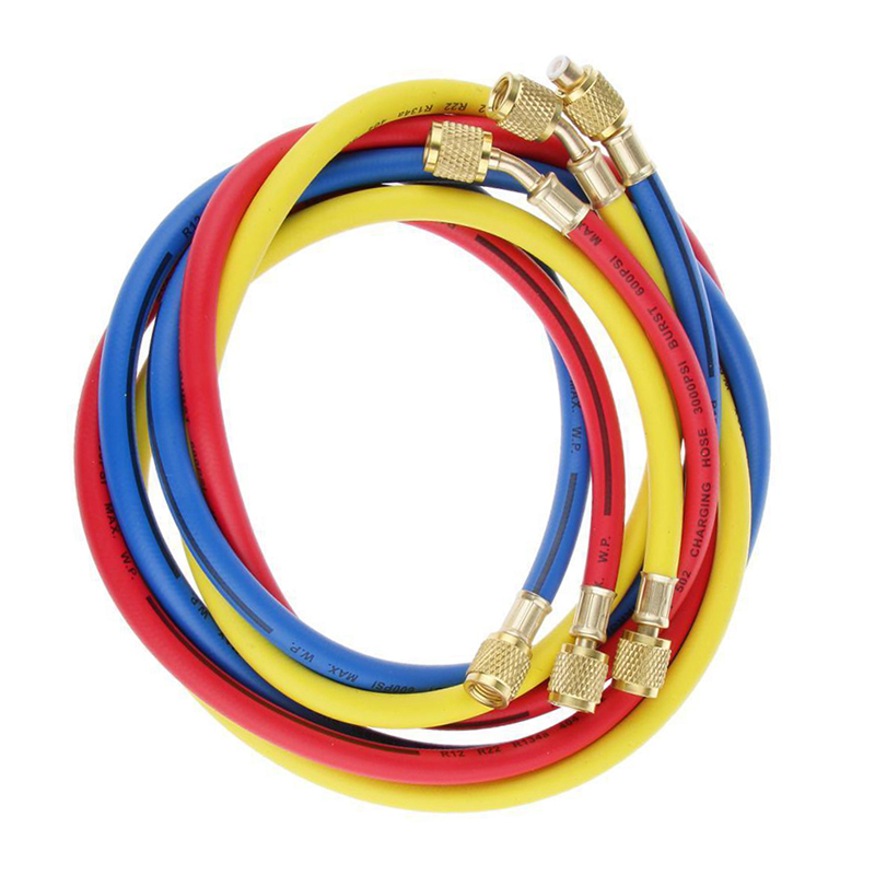 3pcs R134a R22 R410a 1.5m Refrigeration Charging Hoses 1/4 SAE Female Manifold Gauge Set for Air Conditioner Red/Blue/Yellow3pcs R134a R22 R410a 1.5m Refrigeration Charging Hoses 1/4 SAE Female Manifold Gauge Set for Air Conditioner Red/Blue/Yellow