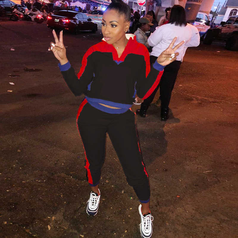 2b7d1d6d0be9 ... Women TWO PIECE SET Top Pullover Tracksuit CONTRAST Color Block Jogger Pants  Leisure Sweat Suit Female ...