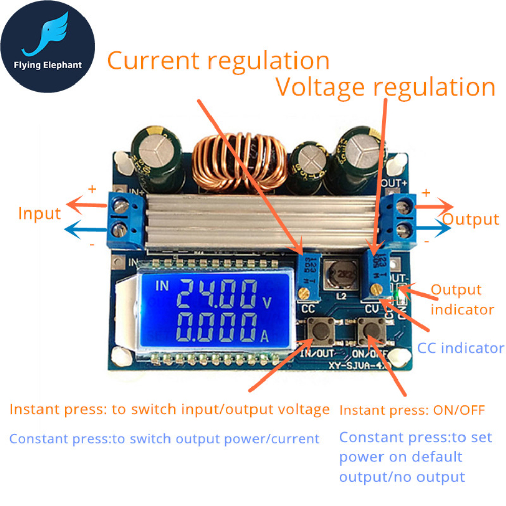 цена Adjustable Voltage 35W Buck With LCD CC CV Boost Automatic Step up&down Converter Module Board