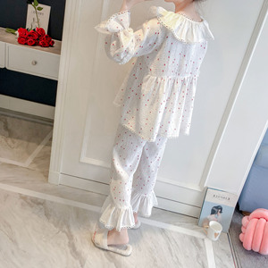 Image 4 - 2019 Spring Autumn Women Cute Pajamas Sets With Pants Cotton Sleepwear Cute Lace V Neck Double Gauze Nightwear Pijama
